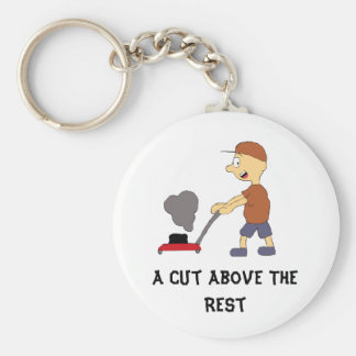 Cartoon Man With Lawnmower Basic Round Button Key Ring