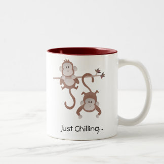 Cartoon monkeys hanging around Two-Tone mug