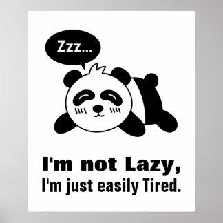 Cartoon of Cute and Lazy Panda Poster