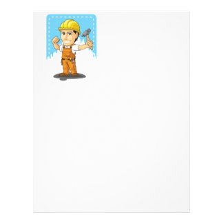 Cartoon of Industrial Construction Worker 21.5 Cm X 28 Cm Flyer