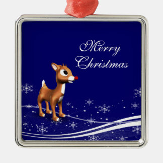 Cartoon Reindeer  Christmas Silver-Colored Square Decoration