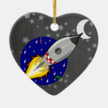 Cartoon Rocket Ceramic Heart Decoration