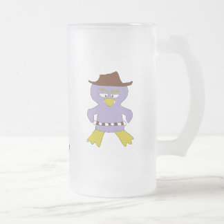Cartoon Western Penguin Frosted Glass Mug