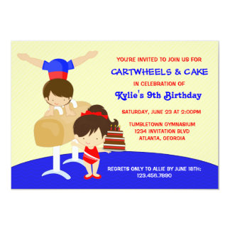 Cartwheels and Cupcakes Gymnastics Birthday Party 13 Cm X 18 Cm Invitation Card