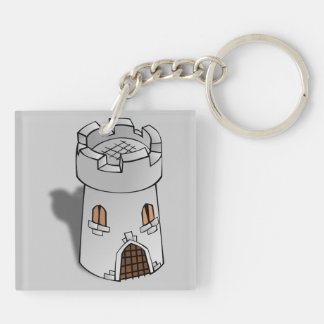 Castle Tower Double-Sided Square Acrylic Key Ring