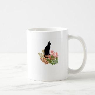 Cat and flower basic white mug