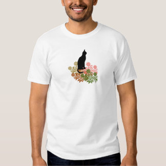 Cat and flower t shirt