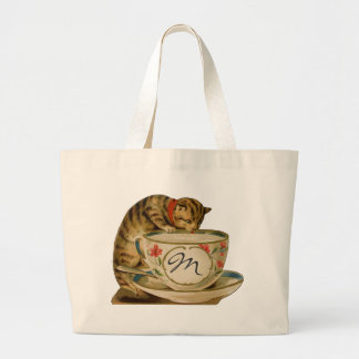 Cat and Teacup Vintage Victorian Jumbo Tote Bag
