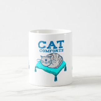 Cat comforts illustration of cat on a pillow mug