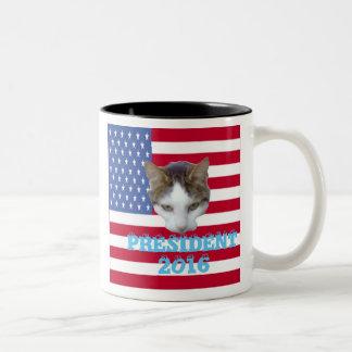Cat for For President 2016 Pillows Two-Tone Mug