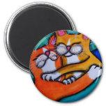 Cat Hugs 6 Cm Round Magnet