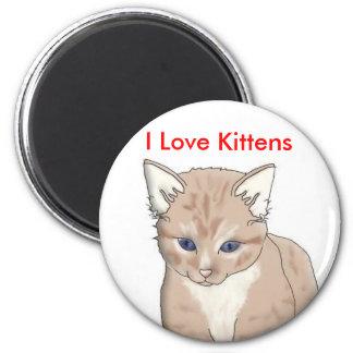 cat, I Love Kittens 6 Cm Round Magnet