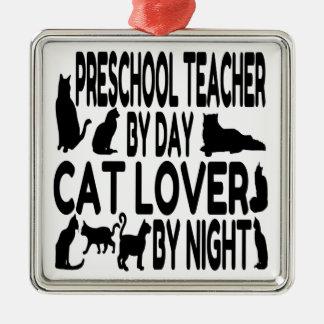 Cat Lover Preschool Teacher Silver-Colored Square Decoration