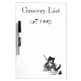 Cat Makes Grocery List Dry Erase White Board