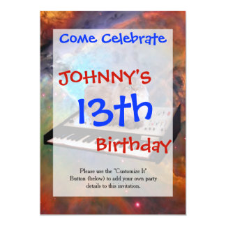 Cat on a Keyboard in Space 13 Cm X 18 Cm Invitation Card