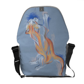 Cat Pastel Orange and White Tabby on Blue Courier Bag