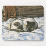 Cat Sleeping on a Bed by Claude Monet Mouse Pad