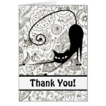 Cat Stretching in Black and White Garden Thank You Note Card