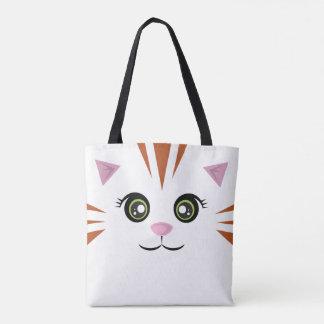Cat Tote - Orange Stripes Tote Bag