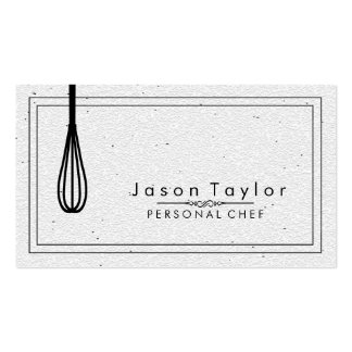Catering Retro Stone White Chef Black whisk Pack Of Standard Business Cards