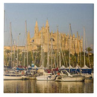 Cathedral and marina, Palma, Mallorca, Spain 2 Large Square Tile