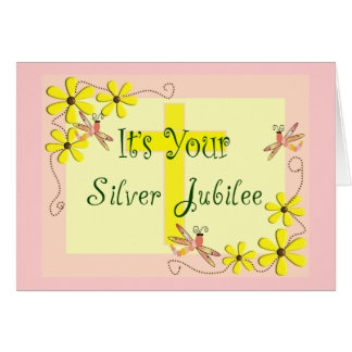 Catholic Nun Silver Jubilee Cards, Mugs, Tote Bags Greeting Card