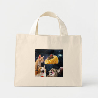 Cats and the mouse on the cheese mini tote bag
