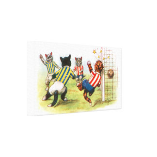 Cats playing football stretched canvas prints