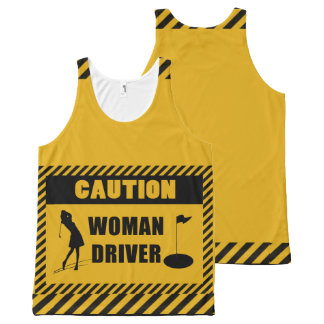 Caution Woman Driver Golf Humor All-Over Print Tank Top
