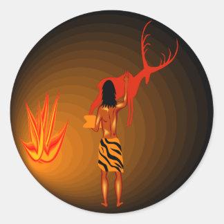 Cave Painter Round Sticker