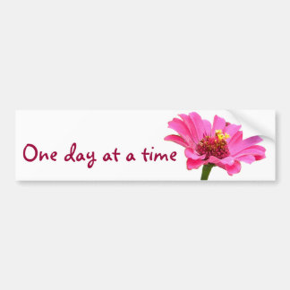 CB- One day at a time pink zinnia flower sticker Bumper Sticker