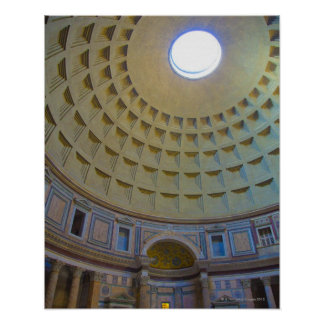 Ceiling of the Pantheon in Rome, Italy. Poster