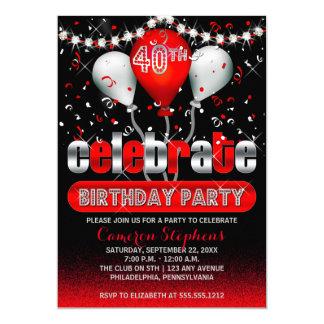 Celebrate Balloons Confetti 40th Birthday Party 13 Cm X 18 Cm Invitation Card