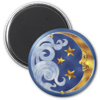 Celestial Moon and Stars 6 Cm Round Magnet