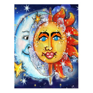 Celestial Sun and Moon Design Postcard