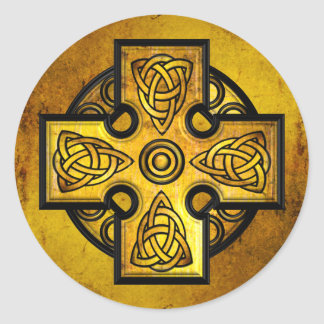 Celtic Cross (gold metal) Round Sticker