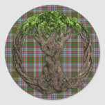 Celtic Tree Of Life And Clan Anderson Tartan Round Sticker