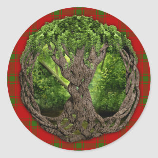 Celtic Tree Of Life And Clan MacDonald Of Sleat Round Sticker