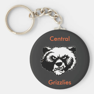 Central Grizzlies Basic Round Button Key Ring