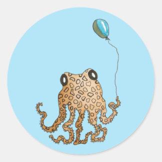 Cephalopod with Balloon (blue) Round Sticker
