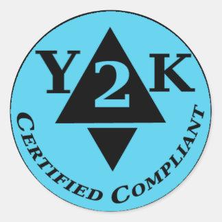 Certified Y2k Compliant Round Sticker