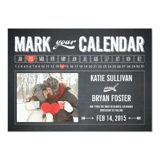 Chalkboard Calendar Photo Save The Date Cards 13 Cm X 18 Cm Invitation Card