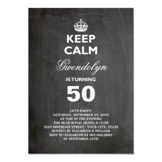 Chalkboard Keep Calm Funny 50th Birthday Party 11 Cm X 16 Cm Invitation Card