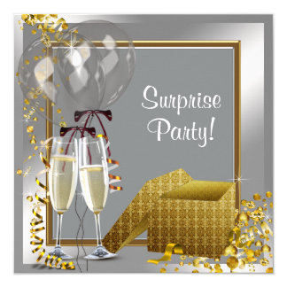 Champagne Confetti Silver and Gold Surprise Party 13 Cm X 13 Cm Square Invitation Card