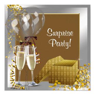 Champagne Confetti Silver Gold Surprise Party 13 Cm X 13 Cm Square Invitation Card