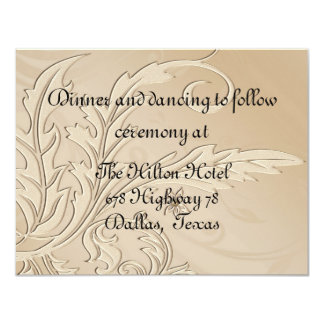 Champagne Fleur Formal Reception Card 11 Cm X 14 Cm Invitation Card