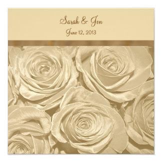 Champagne Roses Formal Wedding Invitation