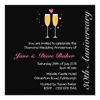Champagne Toast 30th  Anniversary Party 13 Cm X 13 Cm Square Invitation Card
