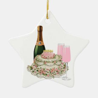 Champagne Toast Birthday Ceramic Star Decoration