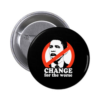 CHANGE FOR THE WORSE / ANTI-OBAMA T-SHIRT 6 CM ROUND BADGE